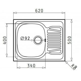 Kuchyňský dřez Pyramis Sparta (62x50) 1B 1D - Dekor