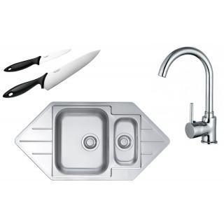 Kuchyňský set Alveus (dřez Line 40 + baterie Tessa + nože Fiskars)