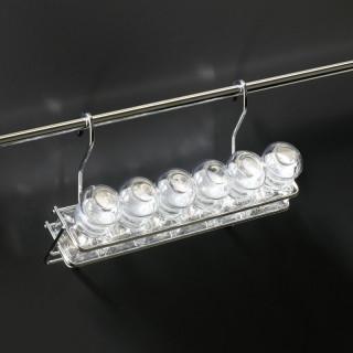 Závěsná police Mivokor K054 - C chrom, jednostupňová se šesti kořenkami