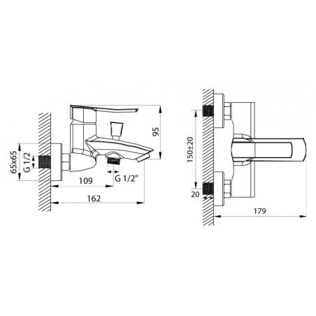 Koupelnová baterie Ferro Veneto 75020/1.0 Chrom, 150 mm