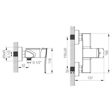 Koupelnová baterie Ferro Veneto 75061/1.0 Chrom, 150 mm