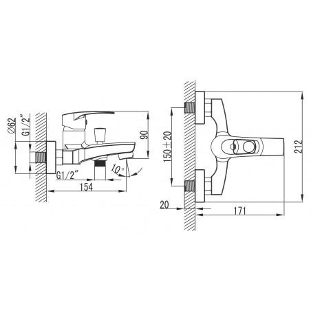 Koupelnová baterie Ferro Brado 80020/1.0 Chrom, 150 mm