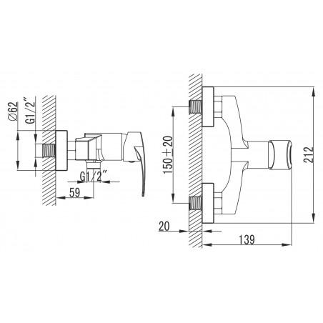 Koupelnová baterie Ferro Brado 80061/1.0 Chrom, 150 mm