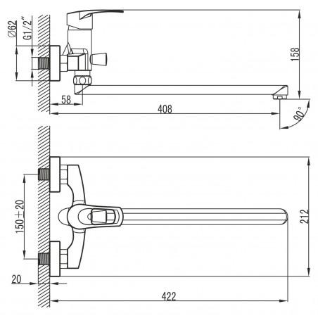 Koupelnová baterie Ferro Brado 80071/1.0 Chrom, 150 mm