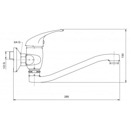 Kuchyňská, koupelnová baterie Metalia 55 55074.1 Bílá - Chrom, plná páčka, 100 mm