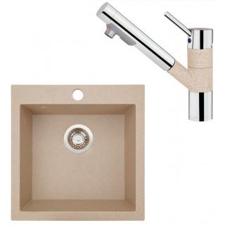 Kuchyňský set Sinks (dřez Viva 455 Beige 91 + baterie Mix 4000 PLUS S Beige)