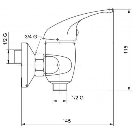 Koupelnová baterie Metalia 55 55160/1.0 Chrom, páčka s otvorem, 150 mm