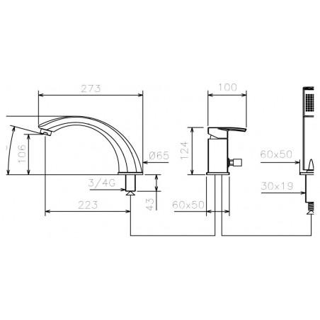 Koupelnová baterie La Torre Studio 31045/1.0 Chrom